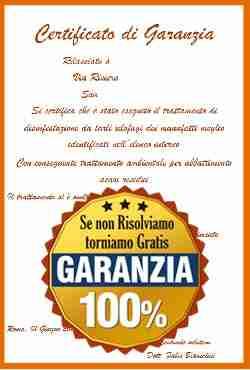 Certificato di garanzia del trattamento antitarlo