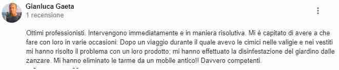 Recensione di Gianluca Gaeta per disinfestazione tarli e cimici