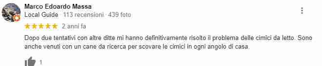 Recensione di Marco Edoardo Massa per disinfestazione tarli e cimici